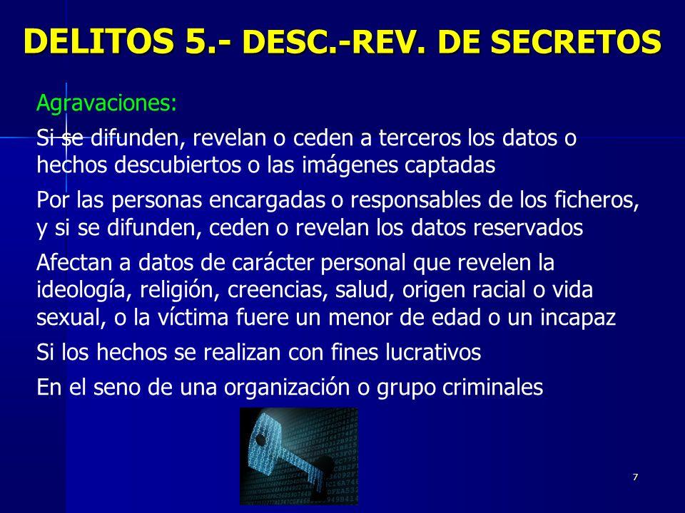 7 DELITOS 5.- DESC.-REV. DE SECRETOS Agravaciones: Si se difunden, revelan o ceden a terceros los datos o hechos descubiertos o las imágenes captadas