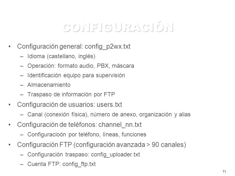 11 CONFIGURACIÓN Configuración general: config_p2wx.txt –Idioma (castellano, inglés) –Operación: formato audio, PBX, máscara –Identificación equipo para supervisión –Almacenamiento –Traspaso de información por FTP Configuración de usuarios: users.txt –Canal (conexión física), número de anexo, organización y alias Configuración de teléfonos: channel_nn.txt –Configuracioón por teléfono, líneas, funciones Configuración FTP (configuración avanzada > 90 canales) –Configuración traspaso: config_uploader.txt –Cuenta FTP: config_ftp.txt