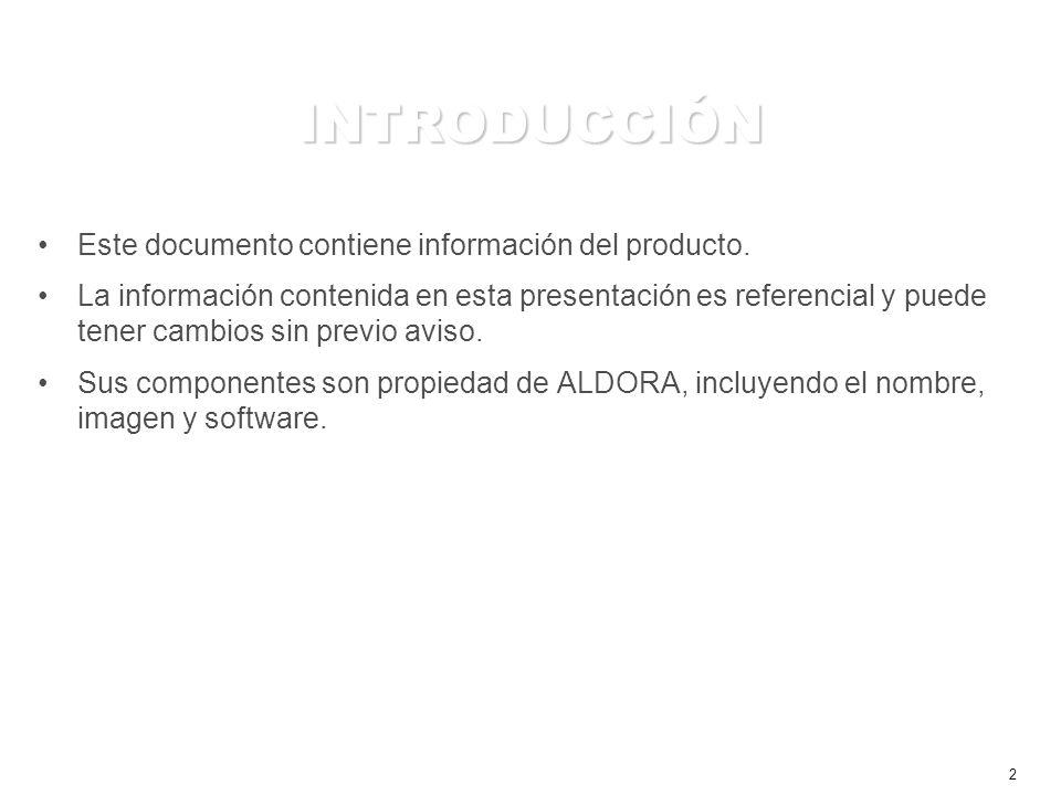 2 INTRODUCCIÓN Este documento contiene información del producto.