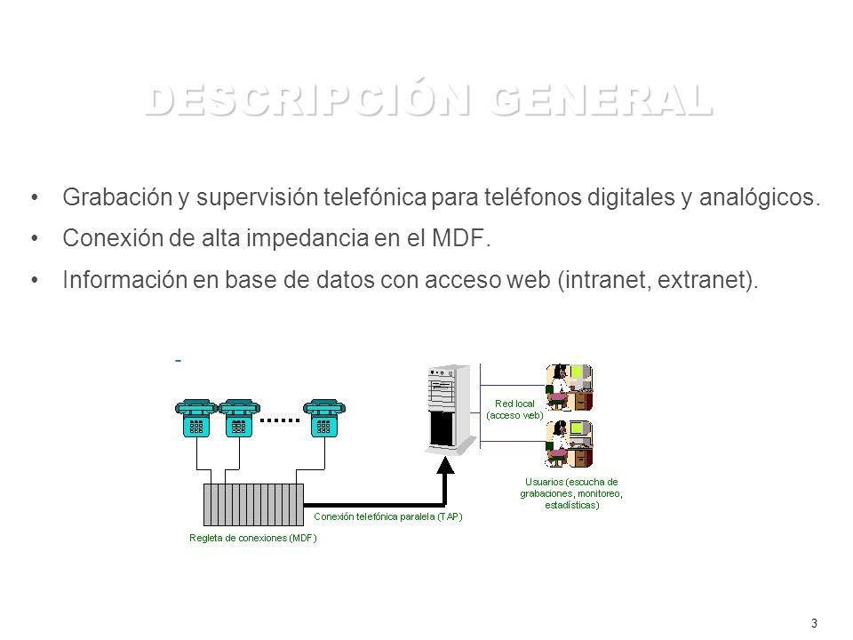 4 FUNCIONALIDADES Grabación –Búsqueda avanzada (hora, fecha, anexo, CallerID, número discado, etc.) –Formato wav estándar (8.000Hz, 8 bits, mono) –Formato wav comprimido con G.729A (60 KB por minuto) Supervisión –Estado de agentes en tiempo real (grabación, en espera y no disponible) –Detalle de actividades del teléfono (tiempos de respuesta, llamadas perdidas, etc.) Operación –Acceso web (intranet, extranet) –Alta capacidad de almacenamiento