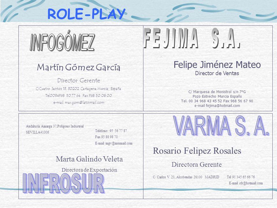 Martín Gómez García Director Gerente C?Cuatro Santos 13, 30202 Cartagena,Murcia, España Tel0034968 50 77 64 Fax 968 50 08 00 e-mail mar.gom@latinmail.
