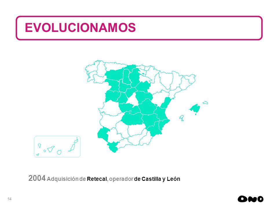 14 2004 Adquisición de Retecal, operador de Castilla y León EVOLUCIONAMOS