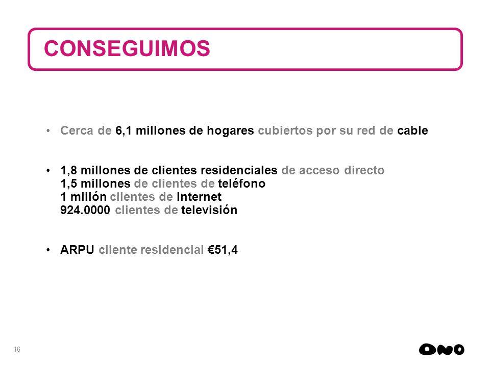 16 Cerca de 6,1 millones de hogares cubiertos por su red de cable 1,8 millones de clientes residenciales de acceso directo 1,5 millones de clientes de