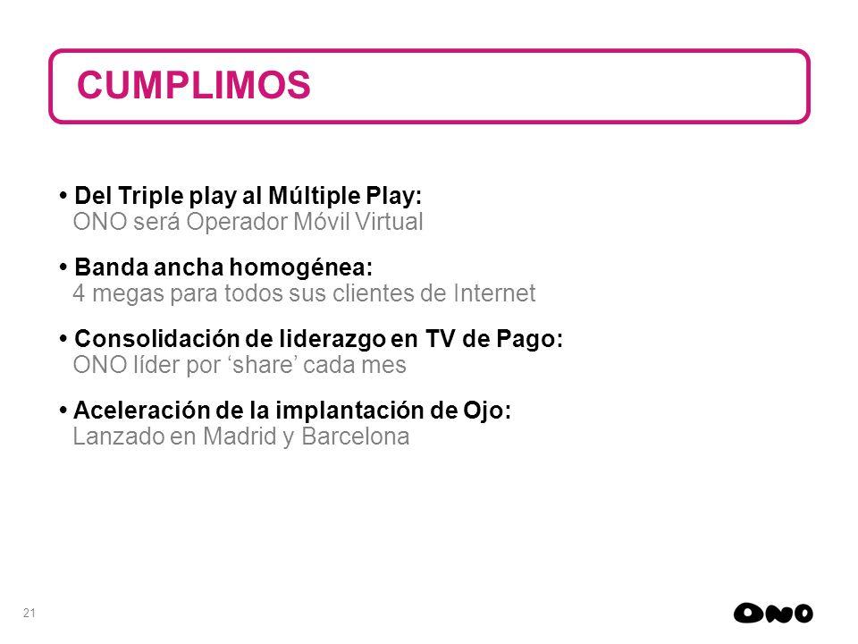 21 Del Triple play al Múltiple Play: ONO será Operador Móvil Virtual Banda ancha homogénea: 4 megas para todos sus clientes de Internet Consolidación