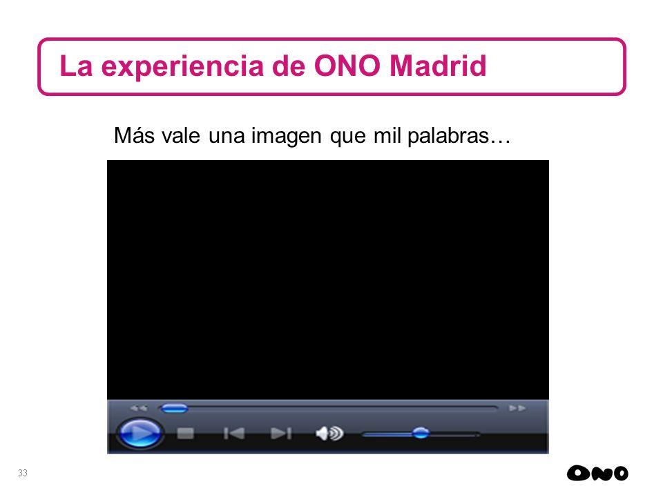 33 La experiencia de ONO Madrid Más vale una imagen que mil palabras…