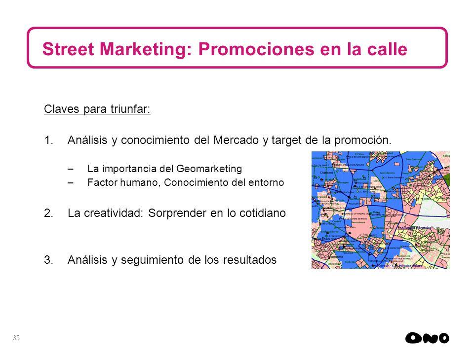 35 Street Marketing: Promociones en la calle Claves para triunfar: 1.Análisis y conocimiento del Mercado y target de la promoción. –La importancia del