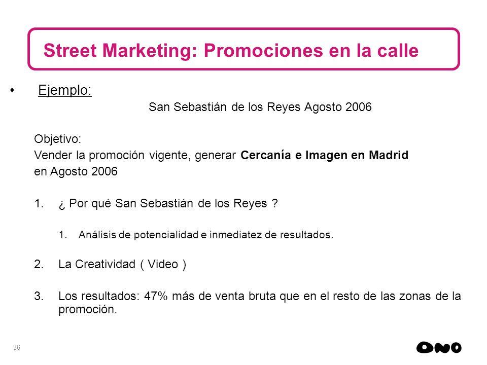 36 Street Marketing: Promociones en la calle Ejemplo: San Sebastián de los Reyes Agosto 2006 Objetivo: Vender la promoción vigente, generar Cercanía e