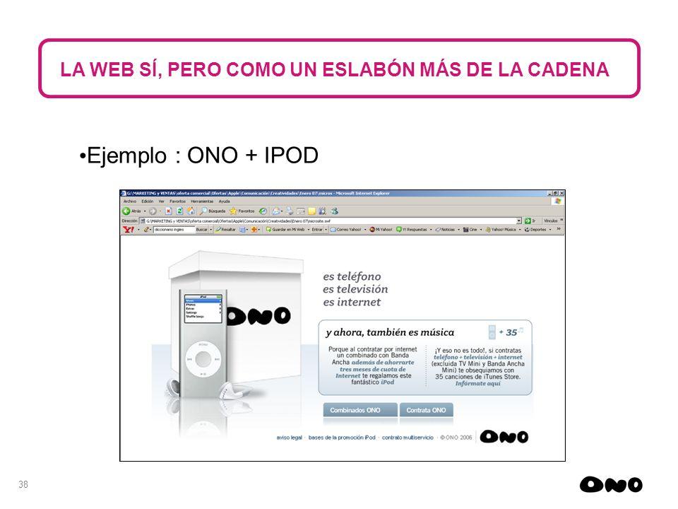 38 LA WEB SÍ, PERO COMO UN ESLABÓN MÁS DE LA CADENA Ejemplo : ONO + IPOD