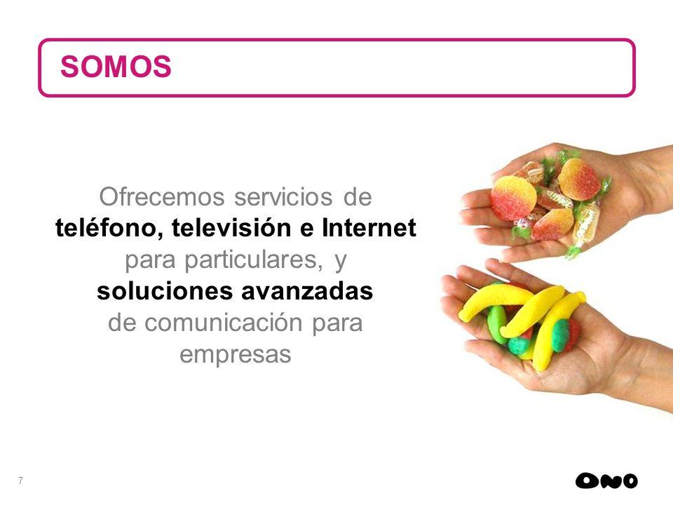 7 Ofrecemos servicios de teléfono, televisión e Internet para particulares, y soluciones avanzadas de comunicación para empresas SOMOS