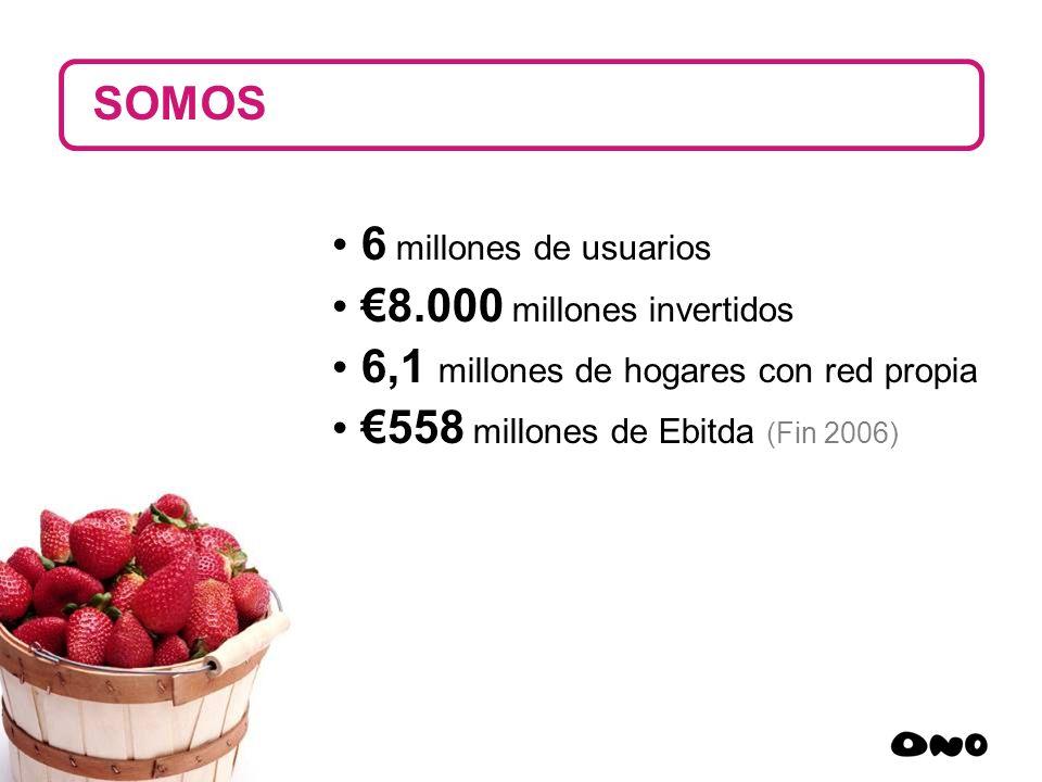 9 6 millones de usuarios 8.000 millones invertidos 6,1 millones de hogares con red propia 558 millones de Ebitda (Fin 2006) SOMOS