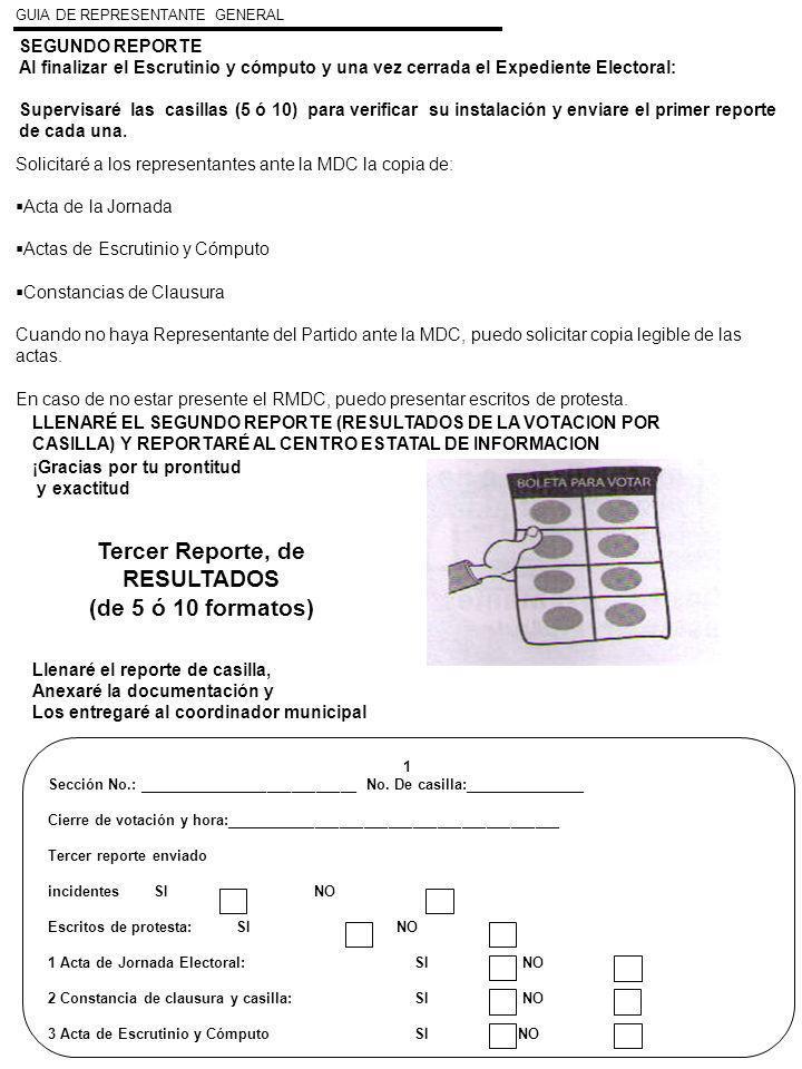 SEGUNDO REPORTE Al finalizar el Escrutinio y cómputo y una vez cerrada el Expediente Electoral: Supervisaré las casillas (5 ó 10) para verificar su in