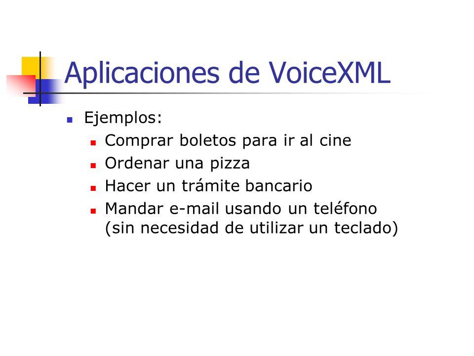 El futuro de VoiceXML Aplicaciones creadas en VoiceXML: No pretenden reemplazar a los navegadores visuales Internet Explorer o Netscape Navigator.
