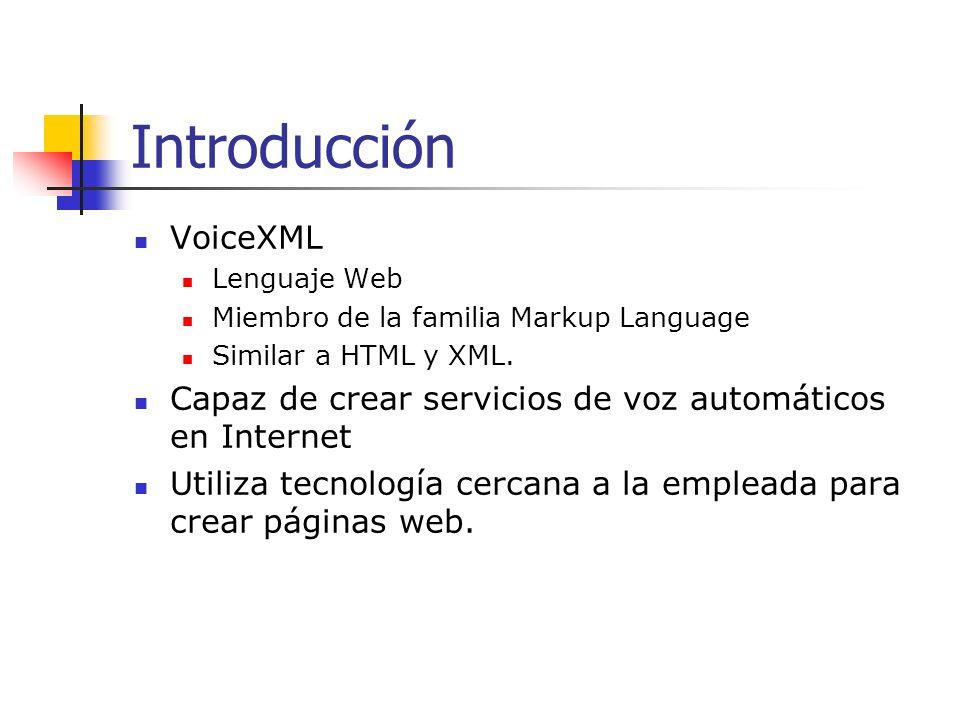 Aplicaciones de VoiceXML Ejemplos: Comprar boletos para ir al cine Ordenar una pizza Hacer un trámite bancario Mandar e-mail usando un teléfono (sin necesidad de utilizar un teclado)