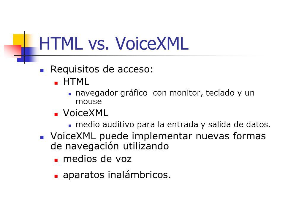 Introducción VoiceXML Lenguaje Web Miembro de la familia Markup Language Similar a HTML y XML. Capaz de crear servicios de voz automáticos en Internet