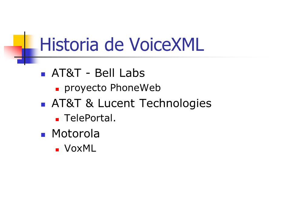 Historia de VoiceXML AT&T - Bell Labs proyecto PhoneWeb AT&T & Lucent Technologies TelePortal.