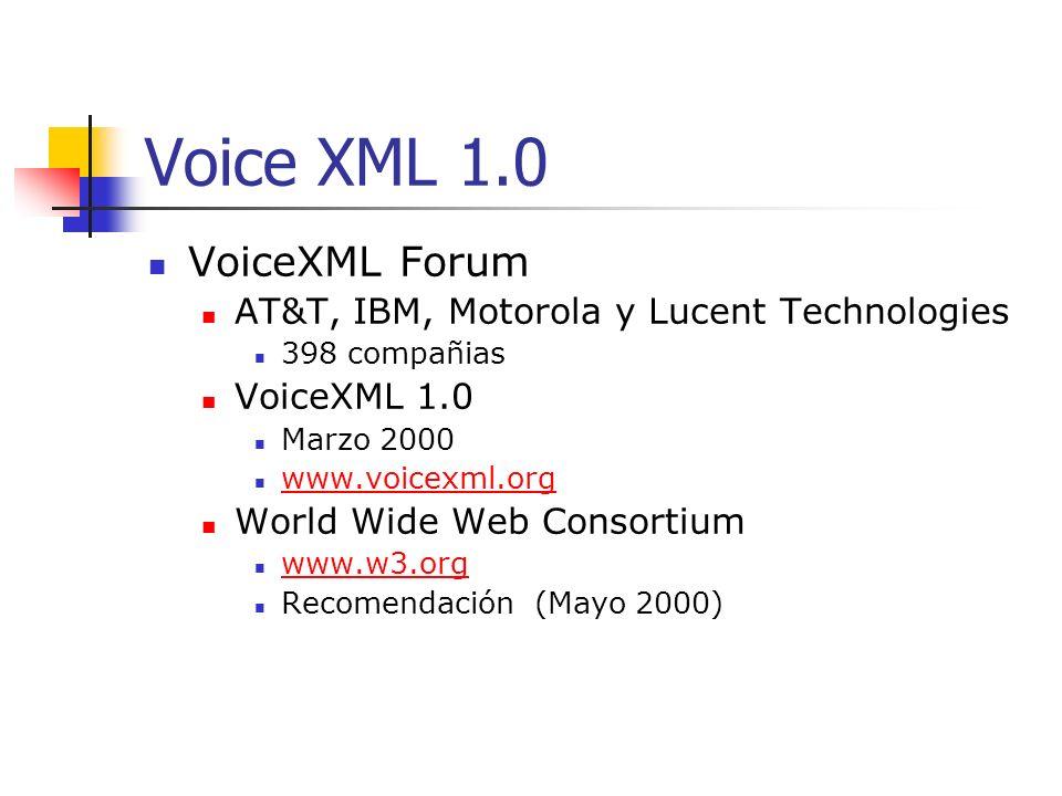 Resumen VoiceXML es un lenguaje de vanguardia Capaz de crear aplicaciones que permiten acceder a páginas Web a través del teléfono y la voz, tanto para leer como para escribir.