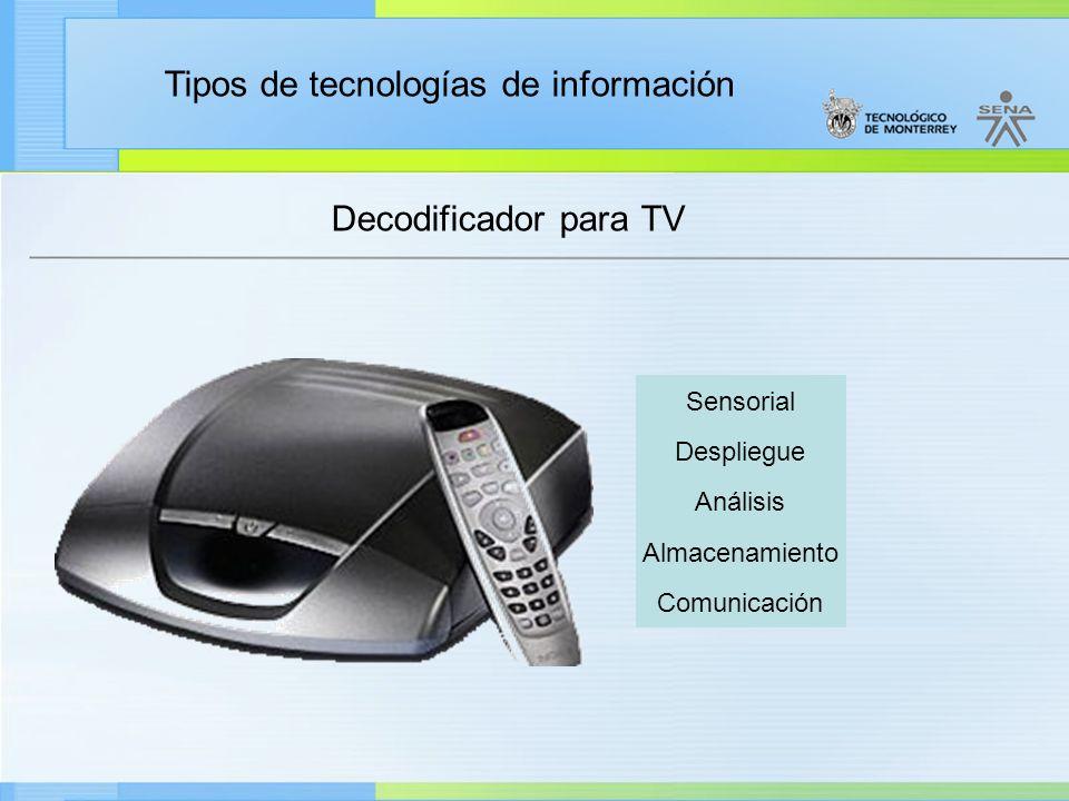 Tipos de tecnologías de información Decodificador para TV Sensorial Despliegue Análisis Almacenamiento Comunicación