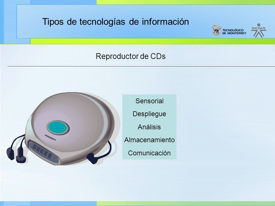 Tipos de tecnologías de información Reproductor de CDs Sensorial Despliegue Análisis Almacenamiento Comunicación