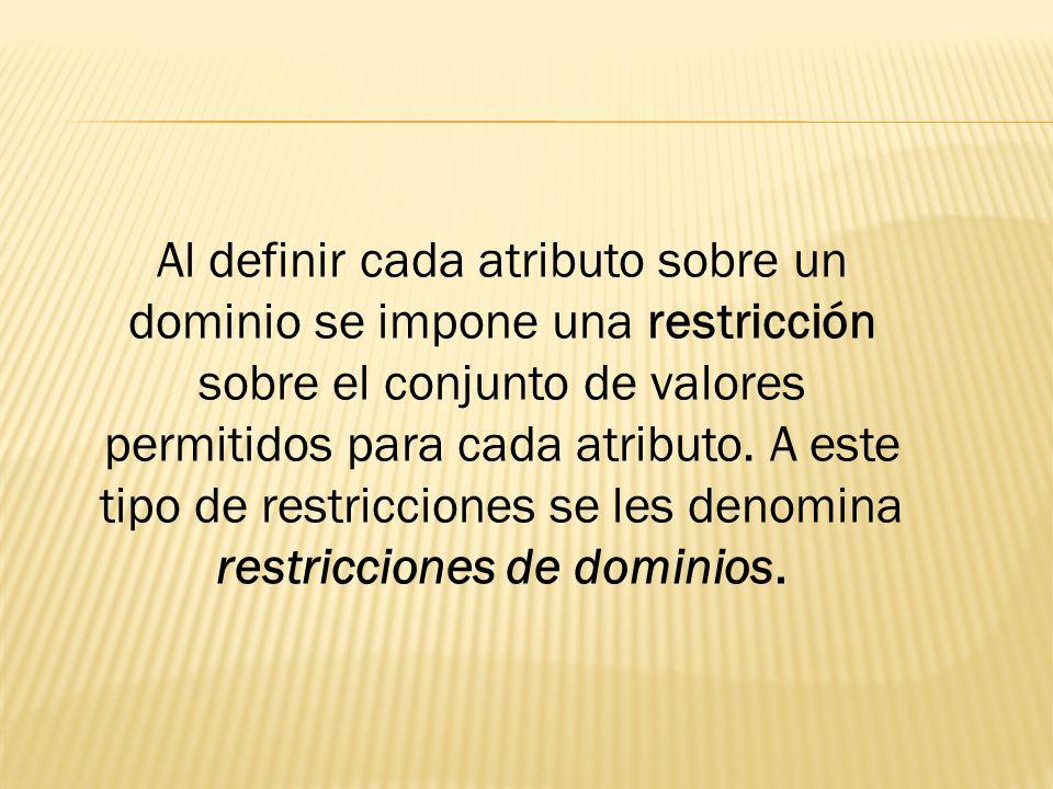 Al definir cada atributo sobre un dominio se impone una restricción sobre el conjunto de valores permitidos para cada atributo. A este tipo de restric