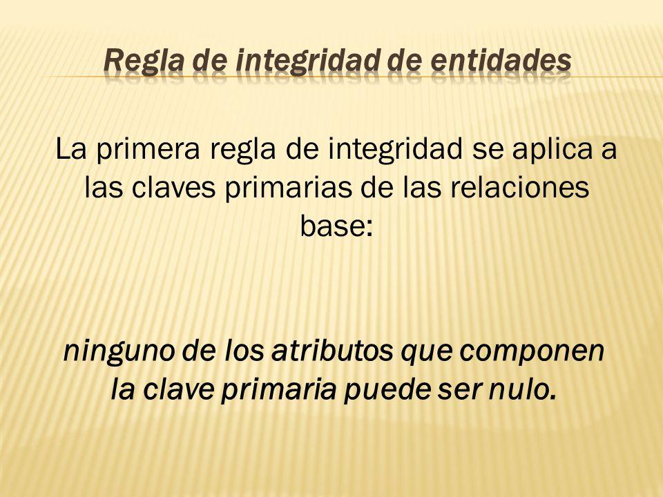 La primera regla de integridad se aplica a las claves primarias de las relaciones base: ninguno de los atributos que componen la clave primaria puede