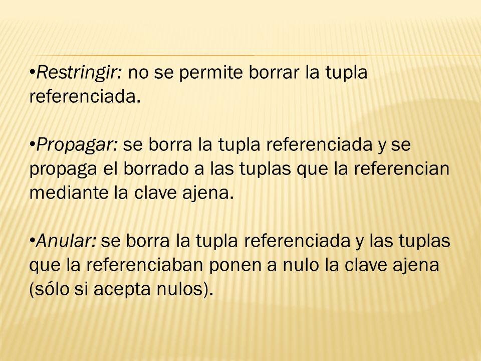 Restringir: no se permite borrar la tupla referenciada. Propagar: se borra la tupla referenciada y se propaga el borrado a las tuplas que la referenci