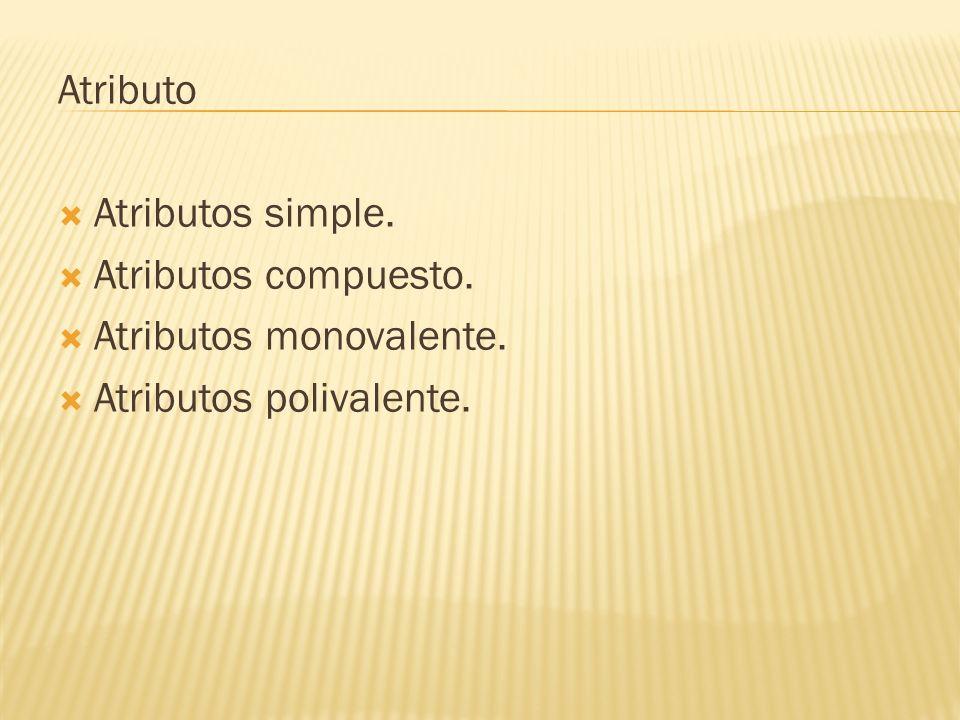 Atributo Atributos simple. Atributos compuesto. Atributos monovalente. Atributos polivalente.