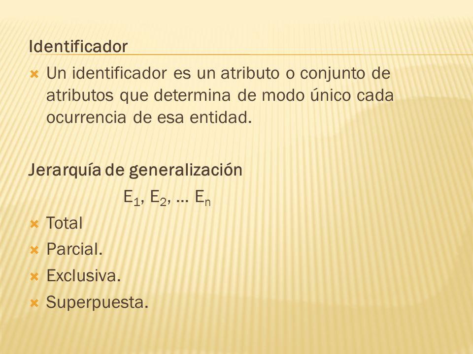 Identificador Un identificador es un atributo o conjunto de atributos que determina de modo único cada ocurrencia de esa entidad. Jerarquía de general