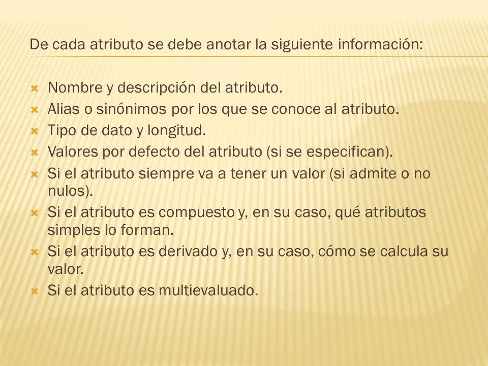 De cada atributo se debe anotar la siguiente información: Nombre y descripción del atributo. Alias o sinónimos por los que se conoce al atributo. Tipo