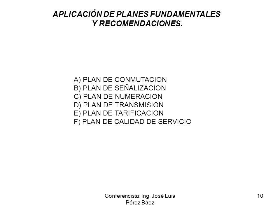 Conferencista: Ing. José Luis Pérez Báez 10 A) PLAN DE CONMUTACION B) PLAN DE SEÑALIZACION C) PLAN DE NUMERACION D) PLAN DE TRANSMISION E) PLAN DE TAR