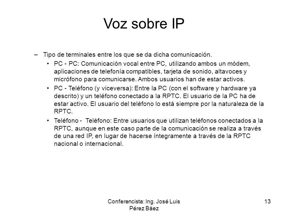 Conferencista: Ing. José Luis Pérez Báez 13 Voz sobre IP –Tipo de terminales entre los que se da dicha comunicación. PC - PC: Comunicación vocal entre