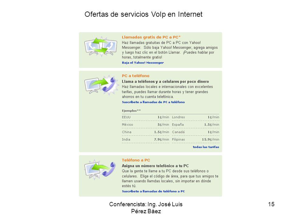 Conferencista: Ing. José Luis Pérez Báez 15 Ofertas de servicios VoIp en Internet
