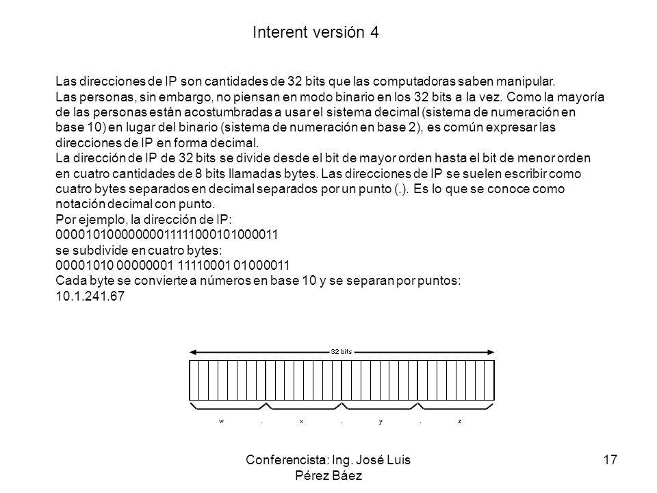 Conferencista: Ing. José Luis Pérez Báez 17 Interent versión 4 Las direcciones de IP son cantidades de 32 bits que las computadoras saben manipular. L