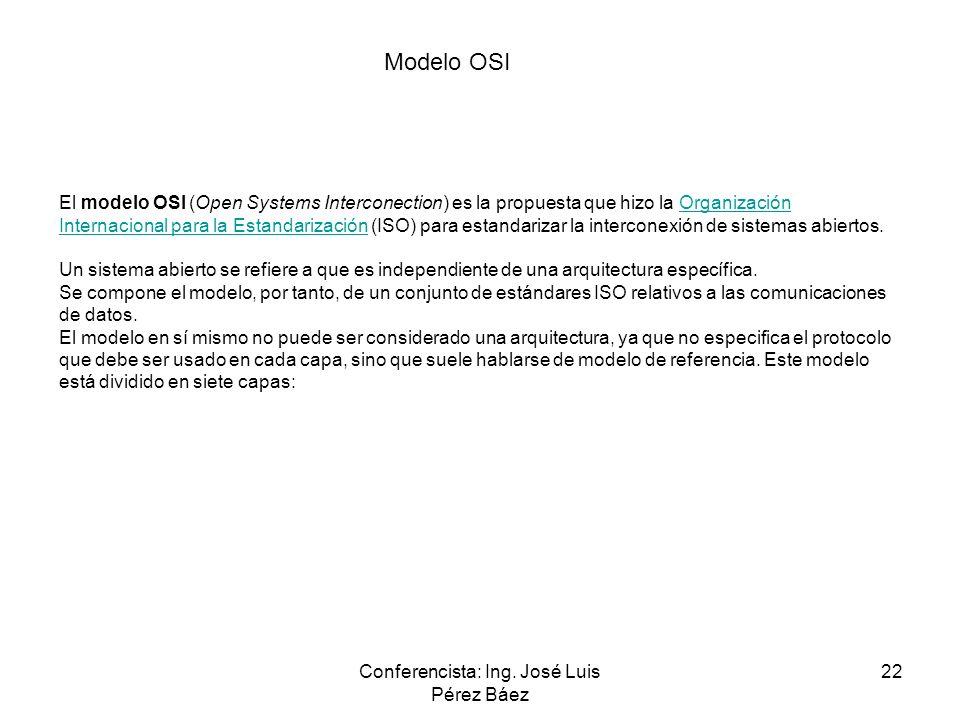 Conferencista: Ing. José Luis Pérez Báez 22 El modelo OSI (Open Systems Interconection) es la propuesta que hizo la Organización Internacional para la