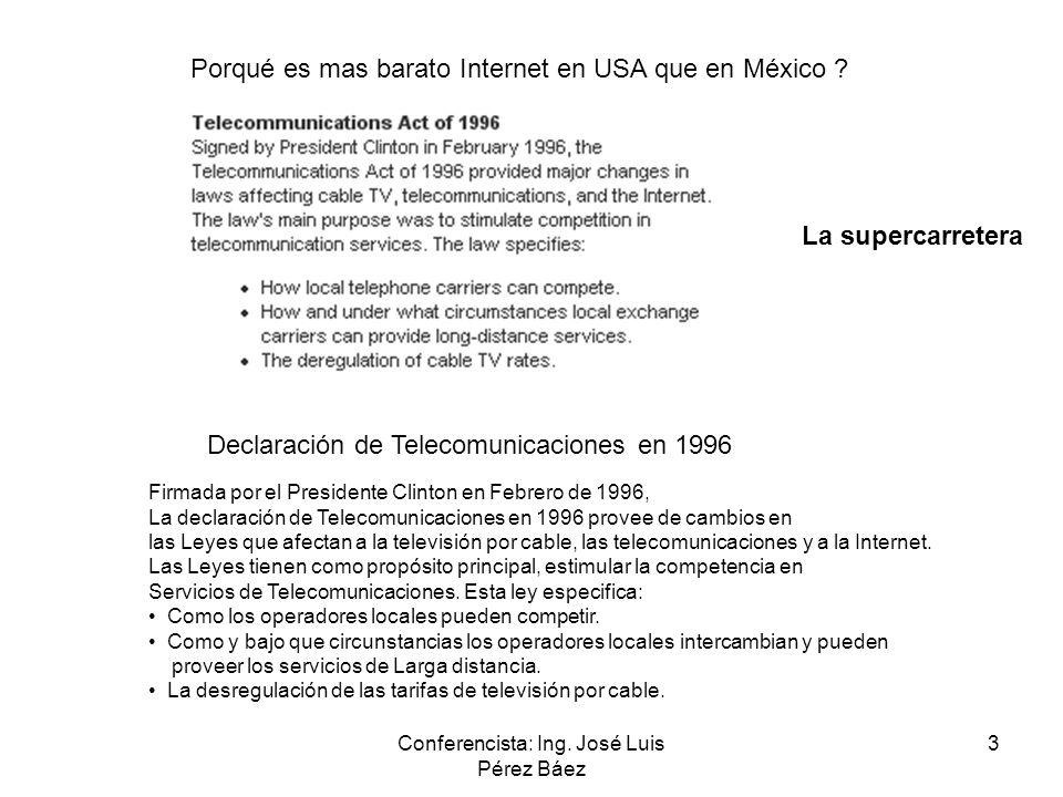 Conferencista: Ing. José Luis Pérez Báez 3 Porqué es mas barato Internet en USA que en México ? Declaración de Telecomunicaciones en 1996 Firmada por