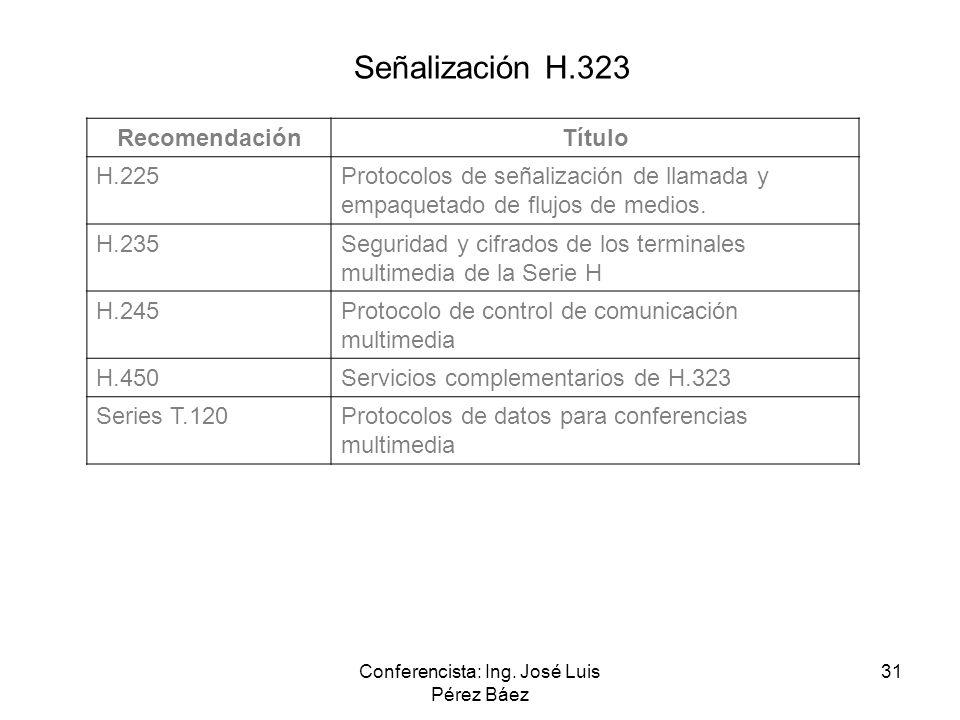 Conferencista: Ing. José Luis Pérez Báez 31 RecomendaciónTítulo H.225Protocolos de señalización de llamada y empaquetado de flujos de medios. H.235Seg