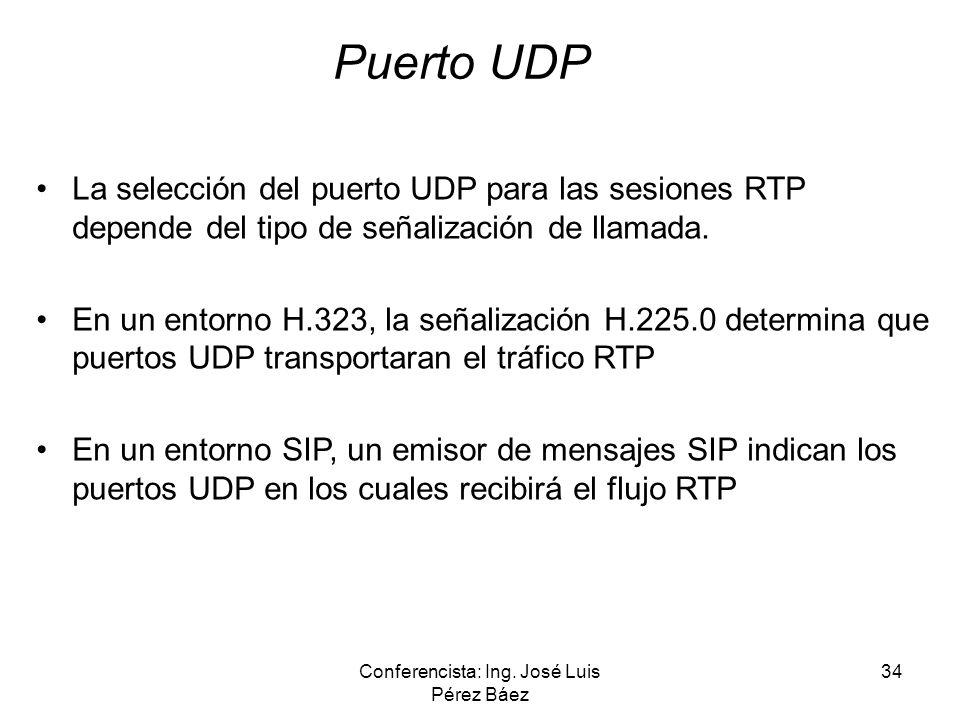 Conferencista: Ing. José Luis Pérez Báez 34 Puerto UDP La selección del puerto UDP para las sesiones RTP depende del tipo de señalización de llamada.