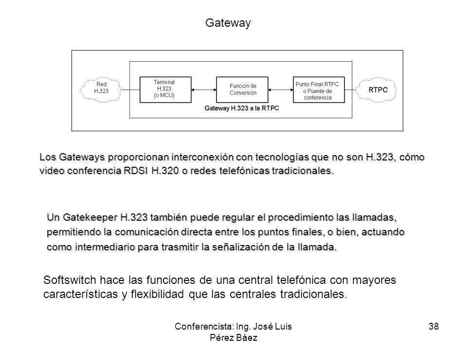 Conferencista: Ing. José Luis Pérez Báez 38 Los Gateways proporcionan interconexión con tecnologías que no son H.323, cómo video conferencia RDSI H.32