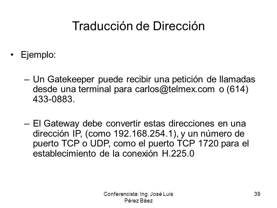 Conferencista: Ing. José Luis Pérez Báez 39 Traducción de Dirección Ejemplo: –Un Gatekeeper puede recibir una petición de llamadas desde una terminal