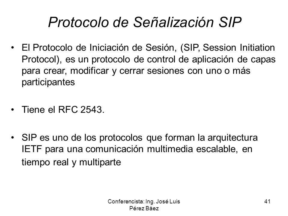 Conferencista: Ing. José Luis Pérez Báez 41 Protocolo de Señalización SIP El Protocolo de Iniciación de Sesión, (SIP, Session Initiation Protocol), es