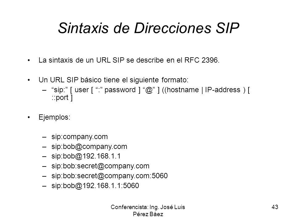Conferencista: Ing. José Luis Pérez Báez 43 Sintaxis de Direcciones SIP La sintaxis de un URL SIP se describe en el RFC 2396. Un URL SIP básico tiene