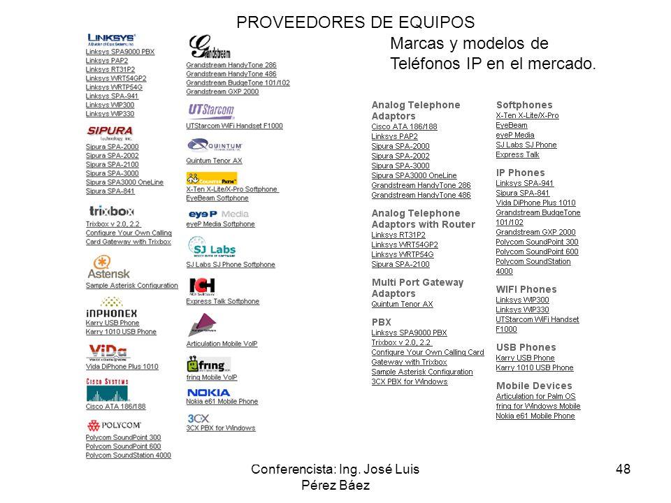 Conferencista: Ing. José Luis Pérez Báez 48 Marcas y modelos de Teléfonos IP en el mercado. PROVEEDORES DE EQUIPOS