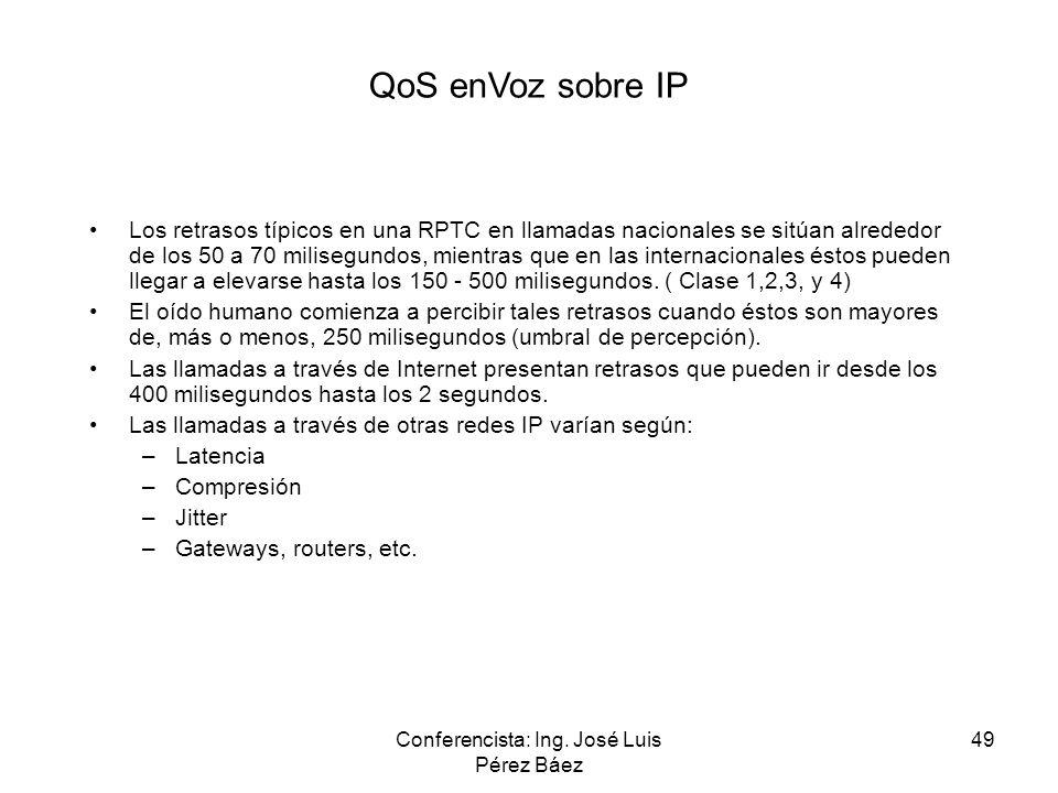 Conferencista: Ing. José Luis Pérez Báez 49 QoS enVoz sobre IP Los retrasos típicos en una RPTC en llamadas nacionales se sitúan alrededor de los 50 a