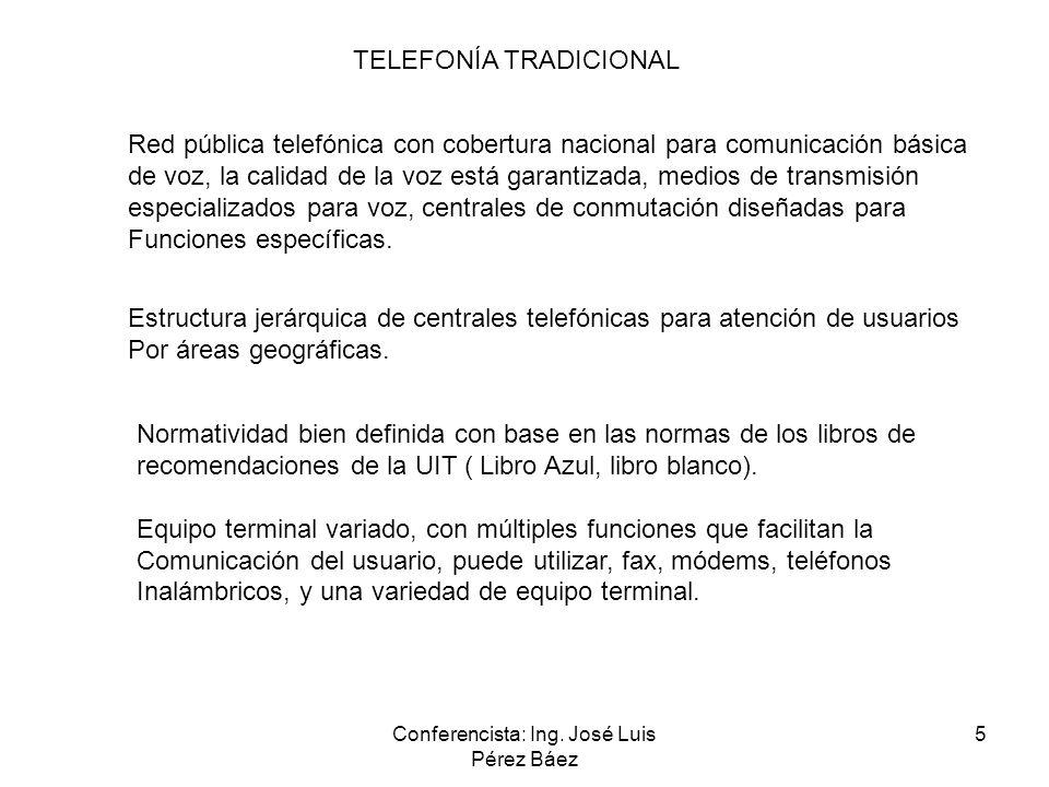 Conferencista: Ing. José Luis Pérez Báez 5 TELEFONÍA TRADICIONAL Red pública telefónica con cobertura nacional para comunicación básica de voz, la cal