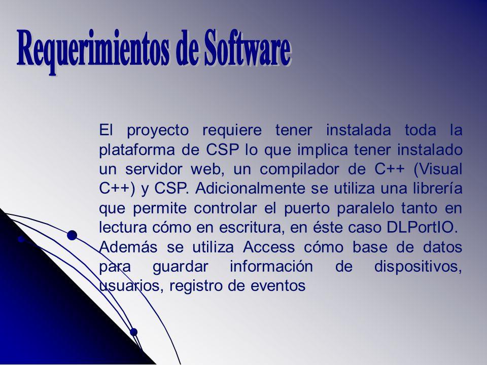 El proyecto requiere tener instalada toda la plataforma de CSP lo que implica tener instalado un servidor web, un compilador de C++ (Visual C++) y CSP.