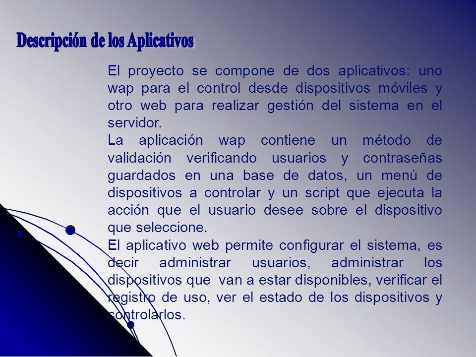 El proyecto se compone de dos aplicativos: uno wap para el control desde dispositivos móviles y otro web para realizar gestión del sistema en el servidor.