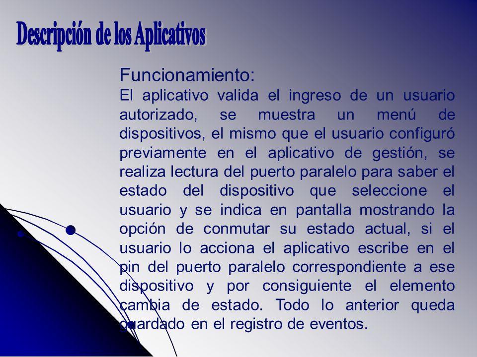 Funcionamiento: El aplicativo valida el ingreso de un usuario autorizado, se muestra un menú de dispositivos, el mismo que el usuario configuró previa