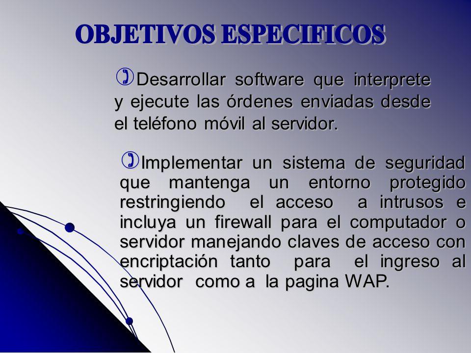 Desarrollar software que interprete y ejecute las órdenes enviadas desde el teléfono móvil al servidor. Desarrollar software que interprete y ejecute