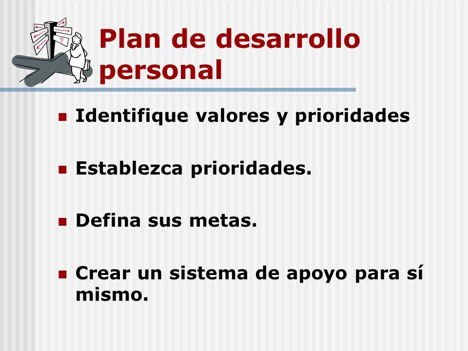 Plan de desarrollo personal Identifique valores y prioridades Establezca prioridades. Defina sus metas. Crear un sistema de apoyo para sí mismo.