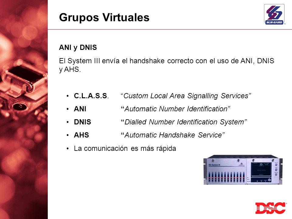 El System III envía el handshake correcto con el uso de ANI, DNIS y AHS. C.L.A.S.S.Custom Local Area Signalling Services ANIAutomatic Number Identific