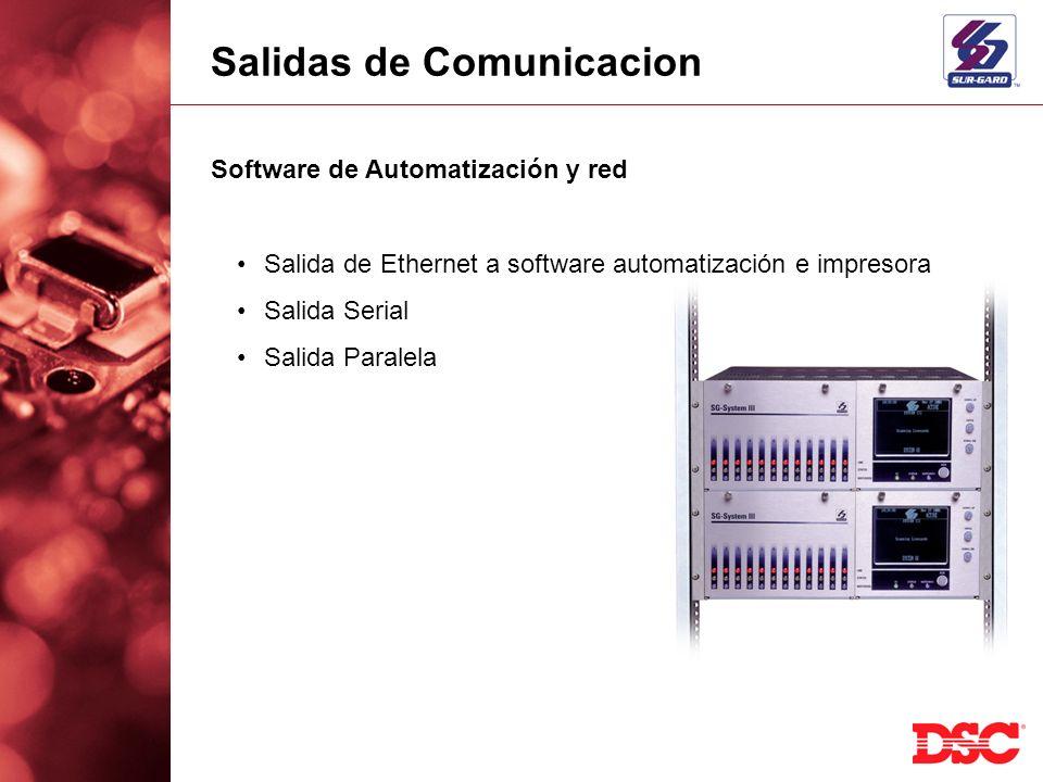 Salidas de Comunicacion Software de Automatización y red Salida de Ethernet a software automatización e impresora Salida Serial Salida Paralela